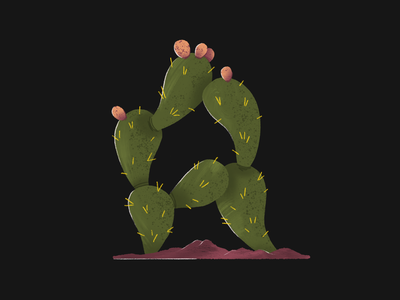 36 Days of Type 06 alphabet letter cactus illustration cactus prickly pear illustration design