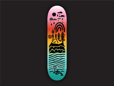 35th North Submission skateboard graphics skateboard skate puget sound water trees space needle rainbow clouds rain northwest mount rainier mountains mountain orca pnw illustration design