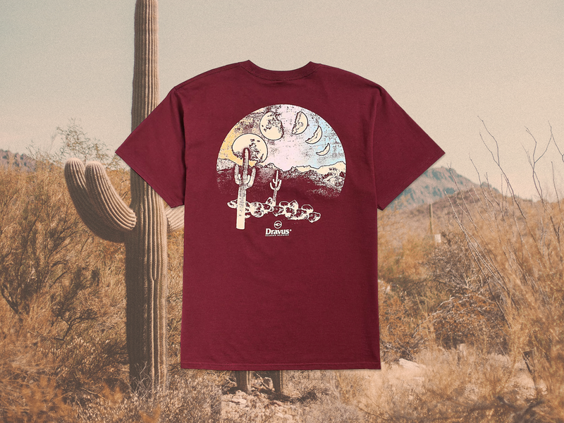 Many Moons Tee apparel graphics graphictees graphictee mountains desert cactus saguaro outdoors outdoor illustration design