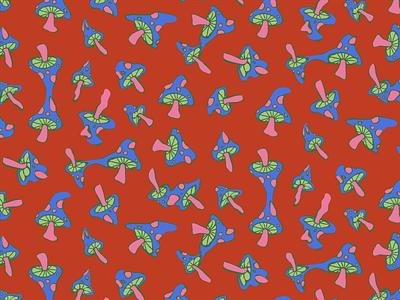 Melting Mushrooms print surface design pattern trippy drippy mushrooms mushroom apparel graphics illustration