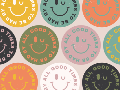 Good Times sticker design stickers design badge smiley face blue pink sticker face smile