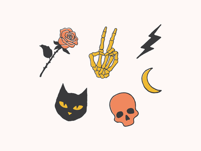Something Spooky illustration design spooky skull skeleton rose moon lighting bolt illustraion icon set icons icon halloween cat