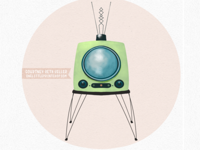 Retro Television futuristic illustration tv onelittleprintshop technology vintage television retro