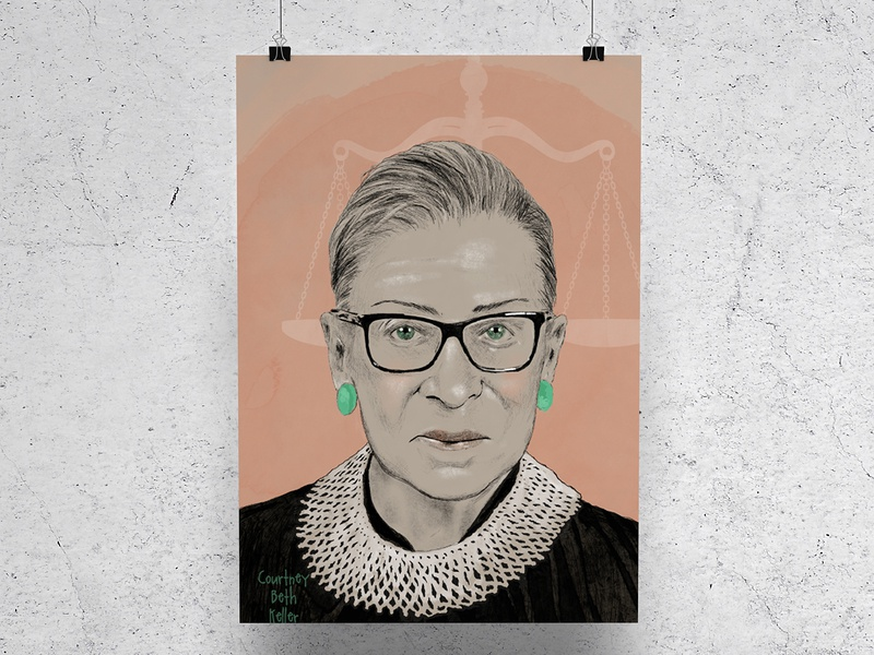 Notorious RBG illustrated portrait portrait procreate design onelittleprintshop illustration rbg ruth bader ginsburg notorious rbg