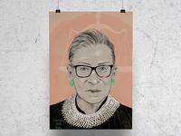 Notorious RBG illustrated portrait portrait procreate design onelittleprintshop illustration rbg ruth bader ginsburg notorious rbg
