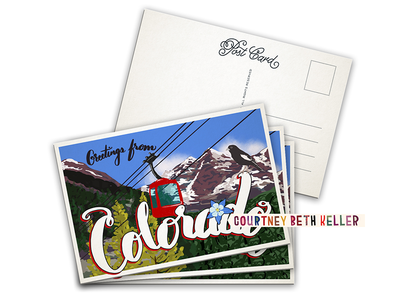 Greetings from Colorado uppercase published lettering hand-lettering illustration design postcard