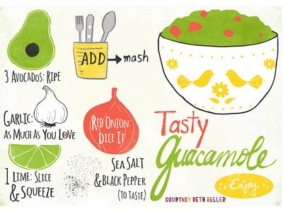 Tasty Guacamole Illustrated Recipe avocado guacamole cooking recipe infographic editorial design illustration illustrated recipe