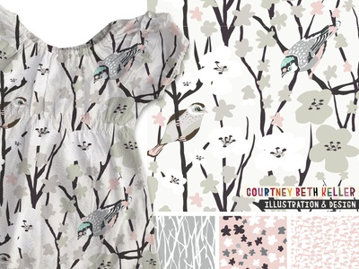 Cherry Blossom collection home decor stationery patterns textile design surface pattern design