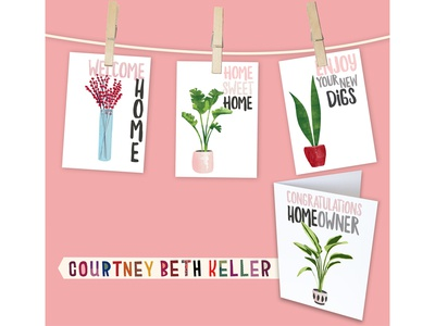 Greeting Card Collection plants illustration typography graphic design home decor congratulations new home greeting cards licensing