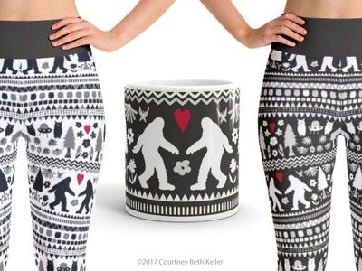 Folk Yeti pattern design surface design folk pattern flower pine tree owl ufo bigfoot yeti pattern folk