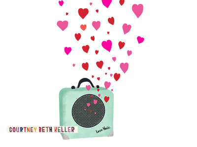 Love Note speaker musical musician textured print and pattern greeting card design placement graphic illustration valentine