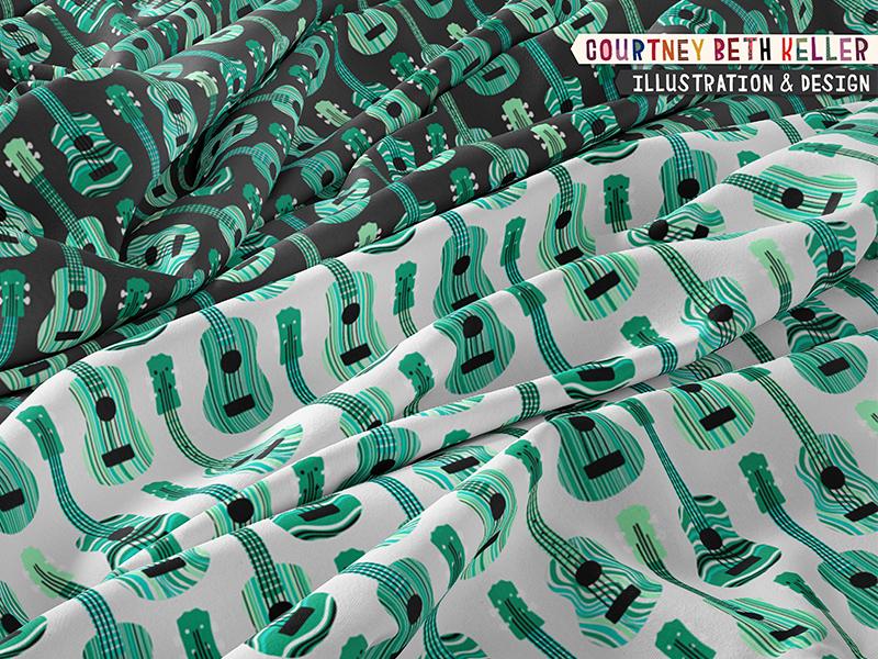 Ukulele pattern design 970creative courtney beth keller onelittleprintshop fabric designer surface pattern design ukulele pattern music pattern string instrument musician music pattern design fabric design