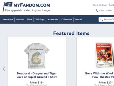 myFandom.com - Fan Apparel e-Commerce Page