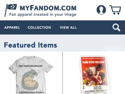 myFandom.com - Fan Apparel e-Commerce Page (Mobile)