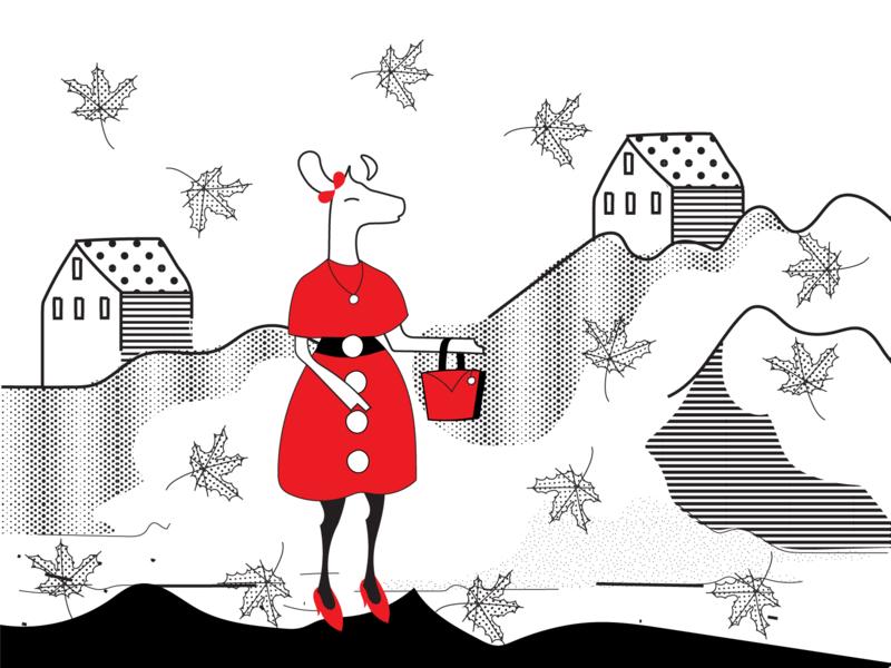 Taking A Long Walk design ecommerce art collective illustrationdaily digital store deer illustration black and white mascot character digital illustration digital art mascot illustration deer art halx store halx