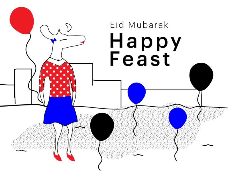 Eid Mubarak design ecommerce art collective illustrationdaily digital store deer illustration black and white mascot character digital illustration digital art mascot illustration deer art halx store halx