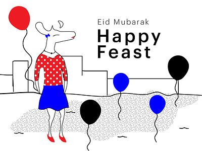 Eid Mubarak design ecommerce art collective illustrationdaily digital store deer illustration black and white mascot character digital illustration digital art mascot illustration deer art halx store halx