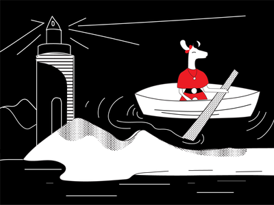 A Boat Trip design ecommerce art collective illustrationdaily digital store deer illustration black and white mascot character digital illustration digital art mascot illustration deer art halx store halx