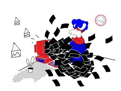 Lots of emails black and white mascot character digital illustration digital art mascot illustration deer art halx store halx