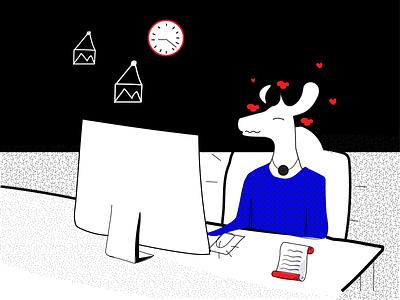 Exploring Behance design ecommerce art collective illustrationdaily digital store deer illustration black and white mascot character digital illustration digital art mascot deer art illustration halx store halx