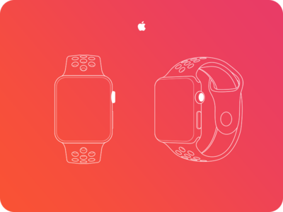 Vector Apple Watch Outline Ai*