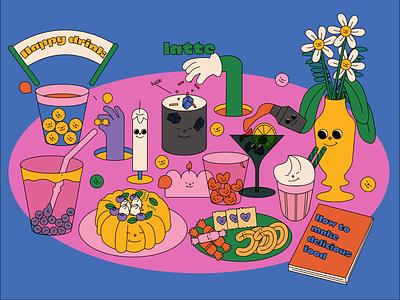 Happy drinks design ux sketch ui illustration