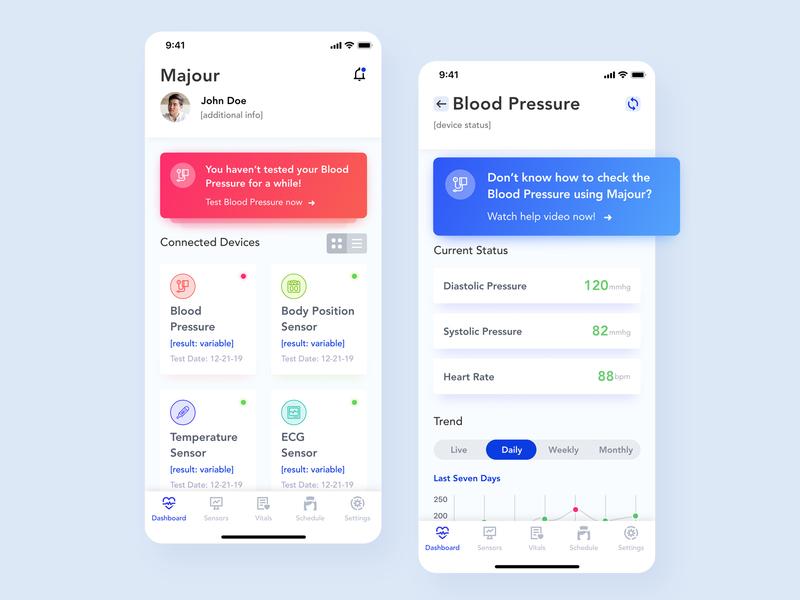 Health Monitoring App medical care vitals sensors medical app ecg pressure blood pressure monitor healthcare medical ios ux ui