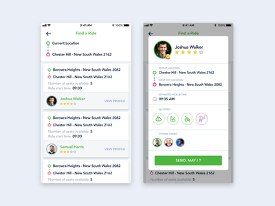 Search Rides driver taxi hop share car simple mobile ui ios app ride share