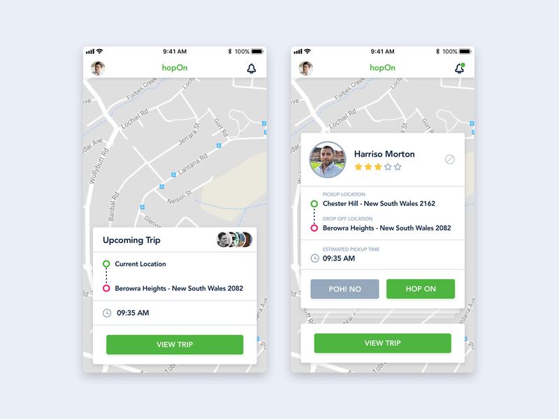 Ride Requestes hop mobile app taxi share ride driver car ios ux ui