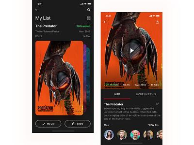 Netflix my lists screen reimagined watch cards screen streaming video movie film netflix app ios ux ui