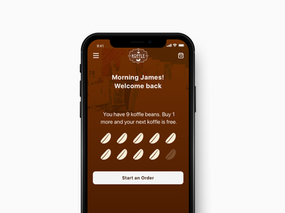Coffee Delivery App UI - Loyalty Screen