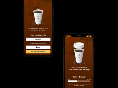 Coffee Delivery App UI - Payment & Tracking