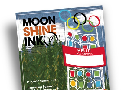 Cover Illustration and Design for Moonshine Ink new illustration cartoon 2020 monuments rings red reorg reframing choosing a name washoe tribe history removing offensive labels ski resort olympic valley olympic valley squaw valley name change
