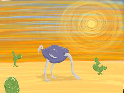 Avoidance - Editorial Illustration desert sbm escape psychology ostrich orange editorial avoidance coping avoidance