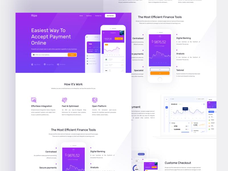 Finance Website payment web website ui design illustration dashboard application layout finance app finance bank app landing page app