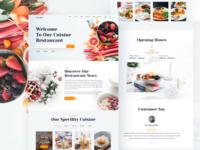 Cuisine Restaurant Website designs ui ux design food app food delivery food and drink restaurant app landingpage homepage restaurant branding food restaurant cuisine website