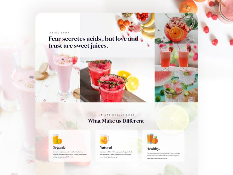 Juice Shop Website  design Experiment minimal design typography juice bar landingpage ui ux illustration branding landing page homepage design website juice packaging juice shop