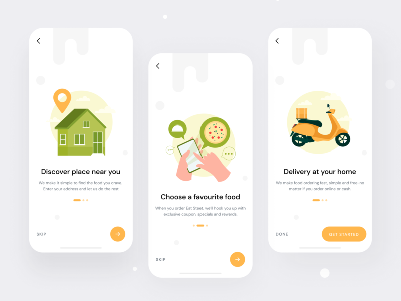 Food Delivery App- Onboarding user experience design trendy design splashscreen restaurant app onboarding ui mobile design interaction design food delivery app foodcort food app favourite app dribbble best shot best shot 2020 app