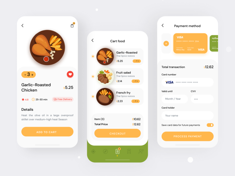 Food Order Mobile App UI cards ui payment ui dashboard homepage mobile website design app ux user interface design. user experience design dribbbleweeklywarmup online delivery food delivery app restaurant app dribbble best shot