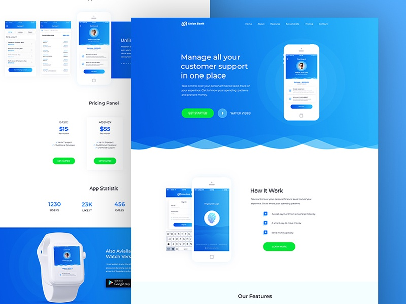 Bank Design Home.Union Bank App Landing Page Design Concept By Mithun Ray On