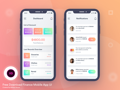 Free Finance Mobile App UI free creative xd adobe payment notification dashboard bank ui app mobile finance