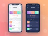 Finance mobile app UI  (Dark & Light)