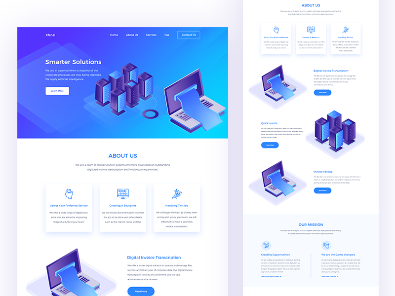 Artificial intelligence landing page webdesign page nodes machine learning landing isometric intelligence futuristic data computer artificial