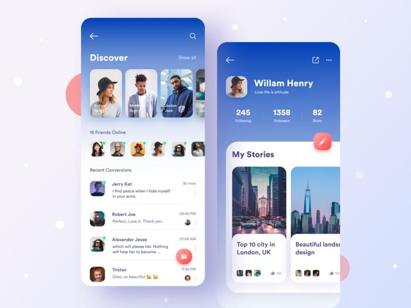 Social app social media app profile app ui ui ux design mobile app ui design mobile app ui design mobile app ui dribbble best shot darling app creative design conversition app app 2019 design trend
