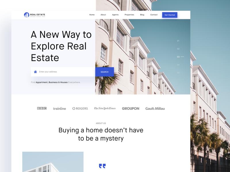 Real Estate Website Design mobile ux app website homepage design redesign corporate landing page design ui design responsive visual design website design real estate trend design 2020