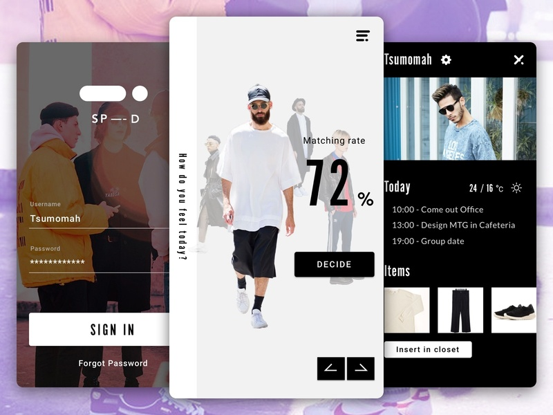 Clothes Recommendation minima app ux ui