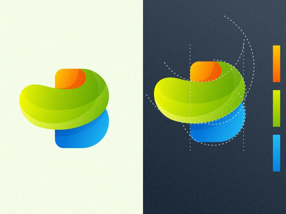 colorful letter B logo design software app branding vector corel ui design uiux ui design coreldraw forsale good nice logo