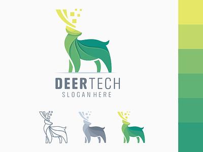 Deer tech logo website animation web icon ux ui ai branding illustrator great vector corel illustration design ilustrator coreldraw forsale good nice logo