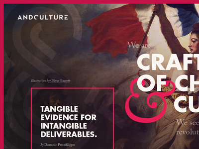 Andculture homepage homepage website design andculture pink caselon futura ampersand border header ui