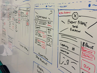 Wireframe and user flow sketches